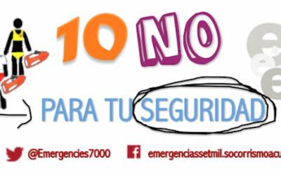 10 NO para tu seguridad. Decálogo de seguridad en el agua